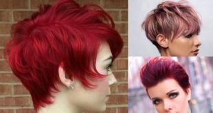 3 glamouröse kurze Frisuren in rosa und lila Farben